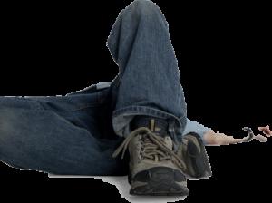 Slip, trip and fall causing knee injury